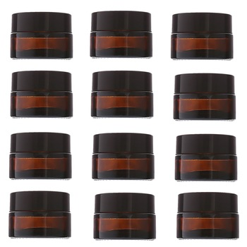 12pcs 20g Amber Glass Cream Jars Cosmetic Packaging with lid black plastic caps & inner liners round empty small glass jar pot 12pcs 20g amber glass cream jars cosmetic packaging with lid black plastic caps
