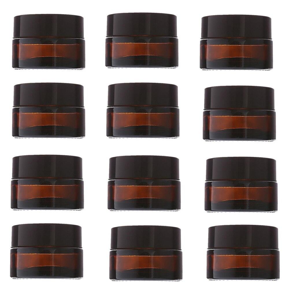 Банки для крема из янтарного стекла, 12 шт., 20 г, косметическая упаковка с крышкой, черные пластиковые крышки и внутренние вкладыши, круглая пу...
