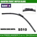 "Rainfun s510 24 ""+ 20"" windscreen wiper blade apto para freelander 2/lr 2 (06-14), ALTA QUALIDADE FRENTE WIPER BLADE, 2 PCS Um LOTE"