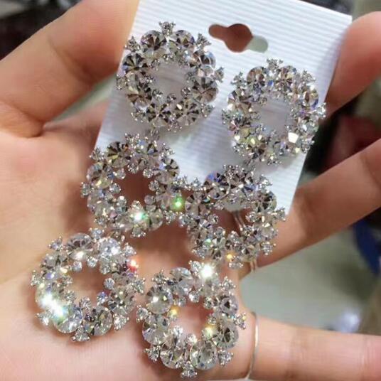 Elegant Bridal Earrings Evening Dinner Party Wedding rhinestone earrings Luxury Long CZ Crystal Big Drop Dangle Earrings
