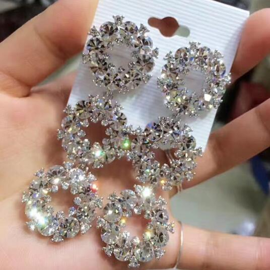 Elegent Bridal Earrings Evening Dinner Part Wedding Jewelry Luxury Long CZ Crystal Big Drop Dangle Earrings For Brides