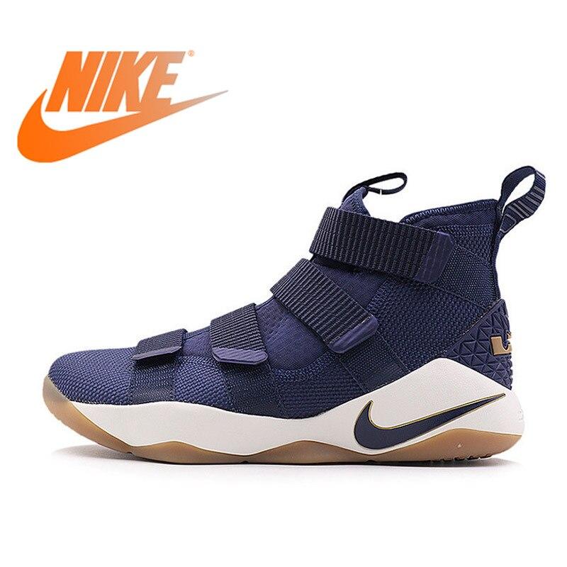 Original Autêntica Nike LBJ SOLDADO LEBRON XI LBJ Tênis de basquete dos homens Respirável Sports sneakers Leve Não-slip 897645