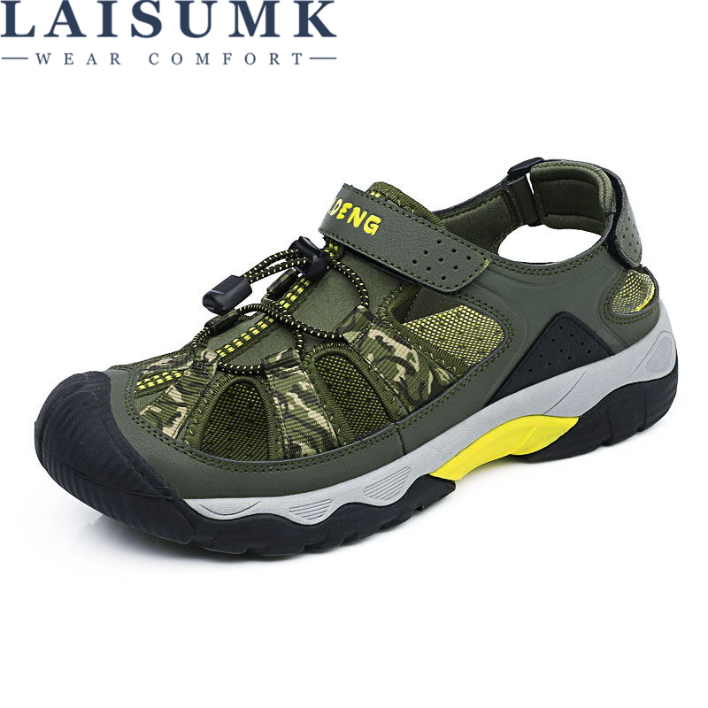 LAISUMK Leather men sandals Summer shoes Men gladiator Outdoors Mesh Hollow Breathable Anti collision toe Thick sole Beach Shoes