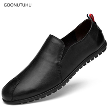 Fashion mens shoes casual leather loafers male breathable slip-on shoe man driving travel black & white platform for men