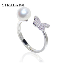 YIKALAISI 2017 new Fashion 100% Natural freshwater Pearl Ring 925 Sterling Silver Jewelry For Women for girls best gift