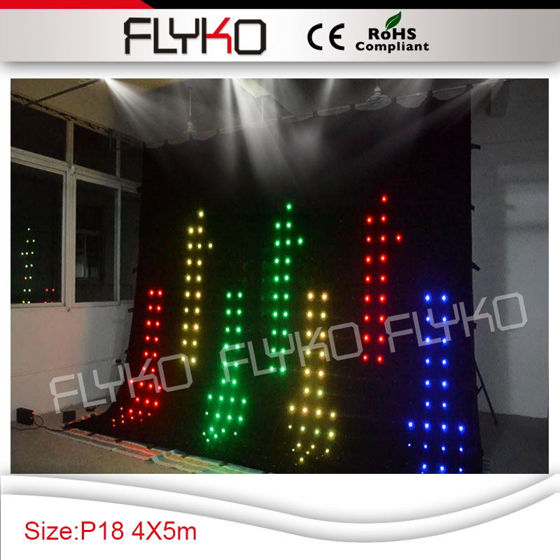 Programmable Led Curtain Display P18cm Led Light Projector Curtain 14FT High X 17FT Width