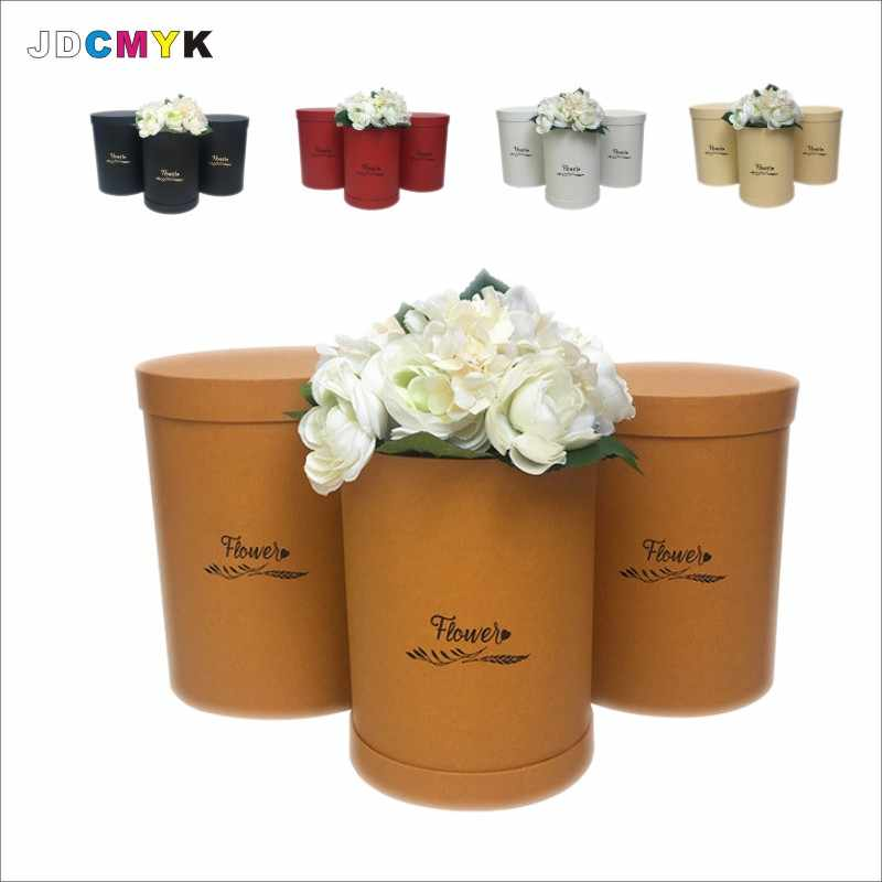 3pcs/set Special paper Hot stamping round florist packing flower gift box,Valentine's gift packing wedding party decoration box