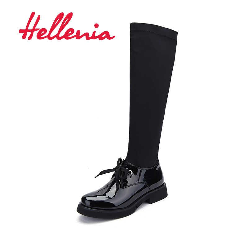 Hellenia 2018 ฤดูใบไม้ร่วงฤดูใบไม้ผลิรองเท้าสไตล์ใหม่รองเท้าสตรีรองเท้าส้นสูงหนารองเท้าเซ็กซี่หญิงยืดผ้ารองเท้าผู้หญิง boot