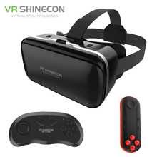 VR Shinecon 6.0 Improved Google Cardboard Virtual Reality 3D Glasses Headset BOX Head Mount for 4.7-6′ Phone +Wireless Gamepad