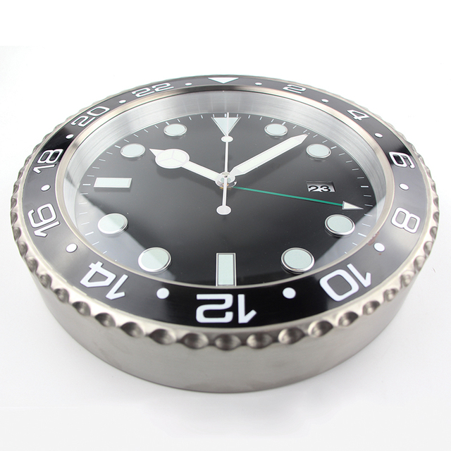 1piece XL size Metal Watch Wall Clock  Calender Wall Clock with Date and Luminous and logos
