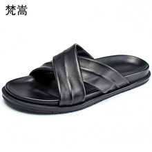 Beach Slippers Mens summer Korean version personality Outdoor anti-skid soft bottom fender men genuine leather slippers