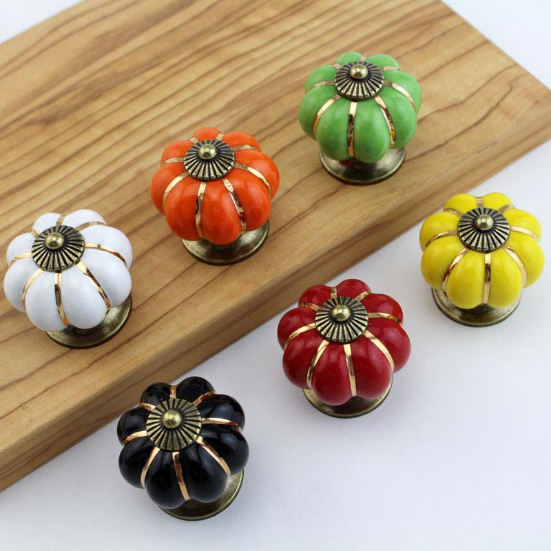 Vintage Pumpkin Cabinet Knobs and Handles Ceramic Door Knob Cabinet Knobs and Handles Cabinet Drawer Cupboard Kitchen Pull CP483 antique cabinet knobs and handles furniture knob kitchen drawer cupboard pull handles jewelry box wooden case knob pulls handles