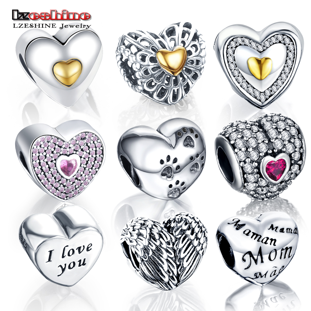 LZESHINE Charm Bead With 100% Authentic 925 Sterling Silver Beads Charms Fit Original Pandora Charm Bracelet Women Jewelry 0014