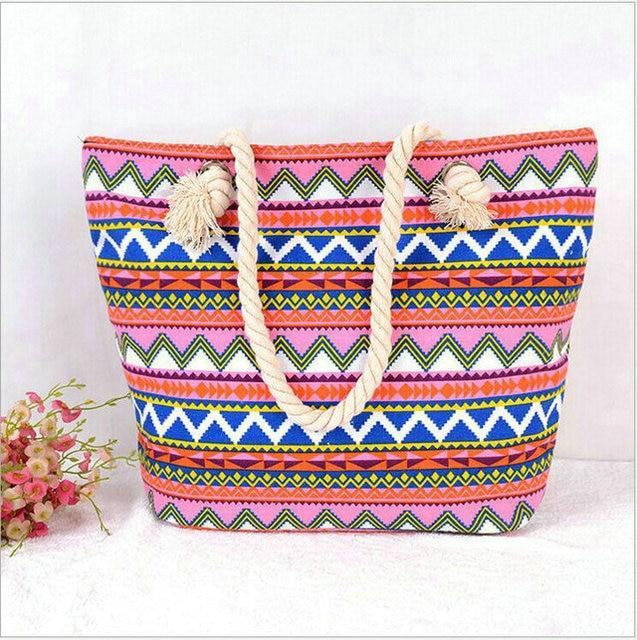 STRIPED LARGE CANVAS TOTE BAG - Women Summer Casual Cord Shoulder Bag Female Shopping Beach Handbag 1