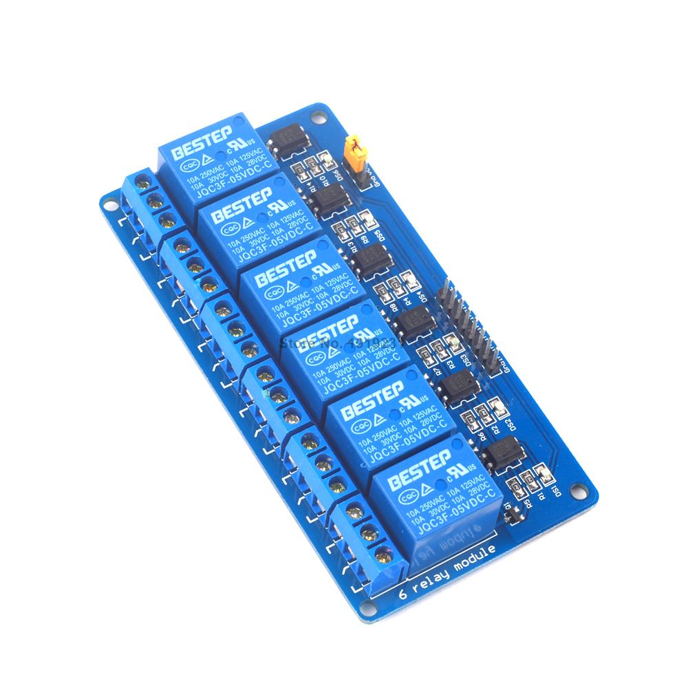 1PCS 6 Channel 5V Relay Module 6Channel Relay Output 6 way Relay Module for Arduino relay shield v1 0 5v 4 channel relay module for arduino works with official arduino boards