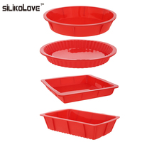 HOT 4PCS Bakeware Set Baking Silicone Molds Nonstick Silicone Bakeware Set Round Square Rectangular Pans For