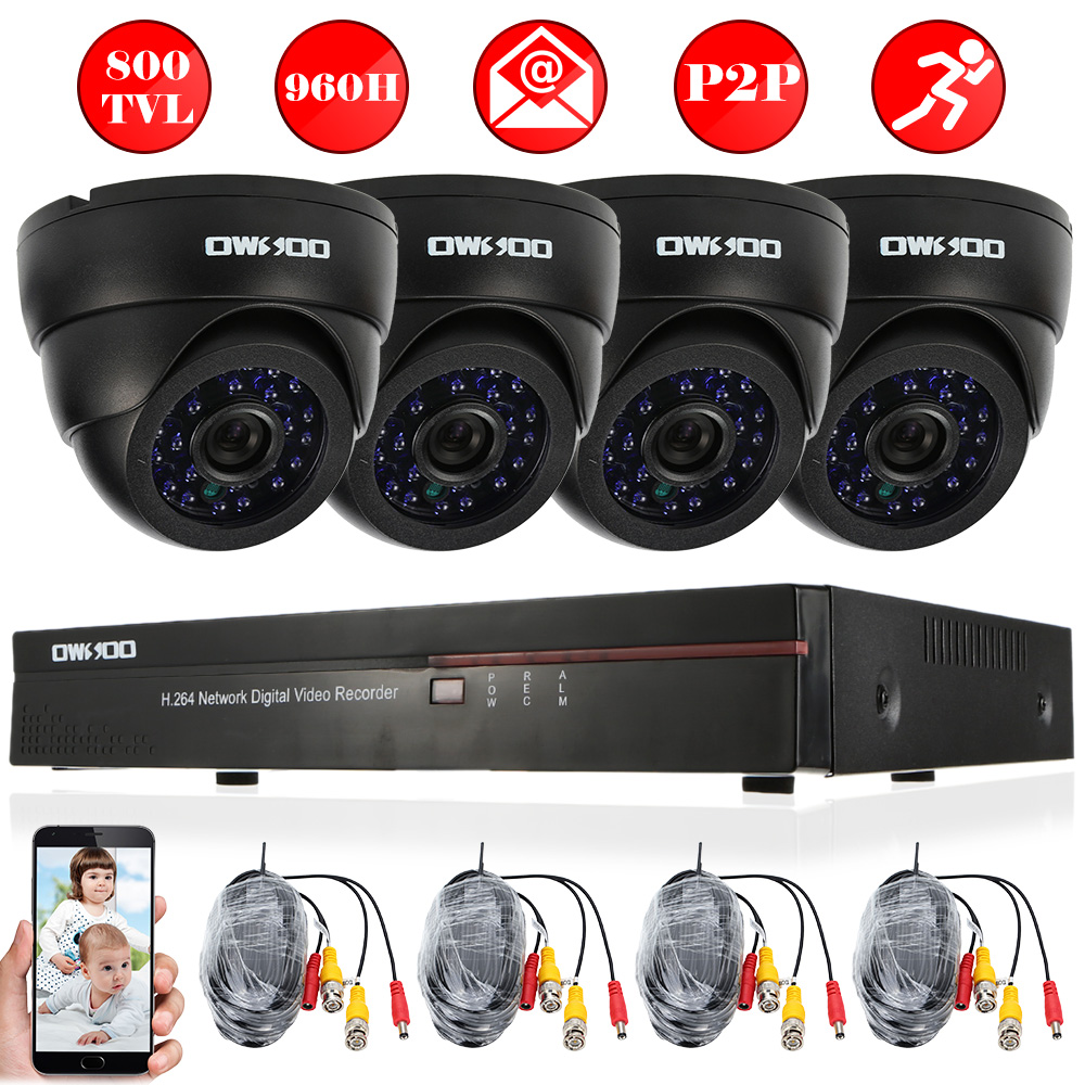 60ft Cable IR Night View OWSOO 4*800TVL Indoor CCTV Security Dome Camera Kit