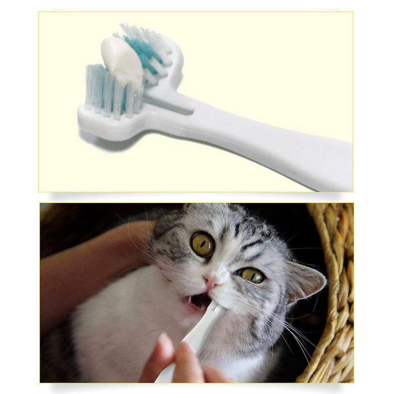 Hot Pet Cat Toothbrush Double Heads Teeth Brushing Multi-angle Cleaning Pet Breath Freshener Oral Care For Dog Cat High Quality image