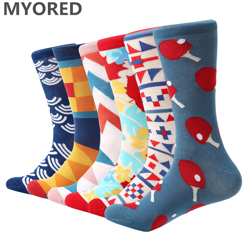 MYORED 6pairs/Lot mens socks combed cotton colorful funny novelty mens merry christmas gift sock for casual business dress