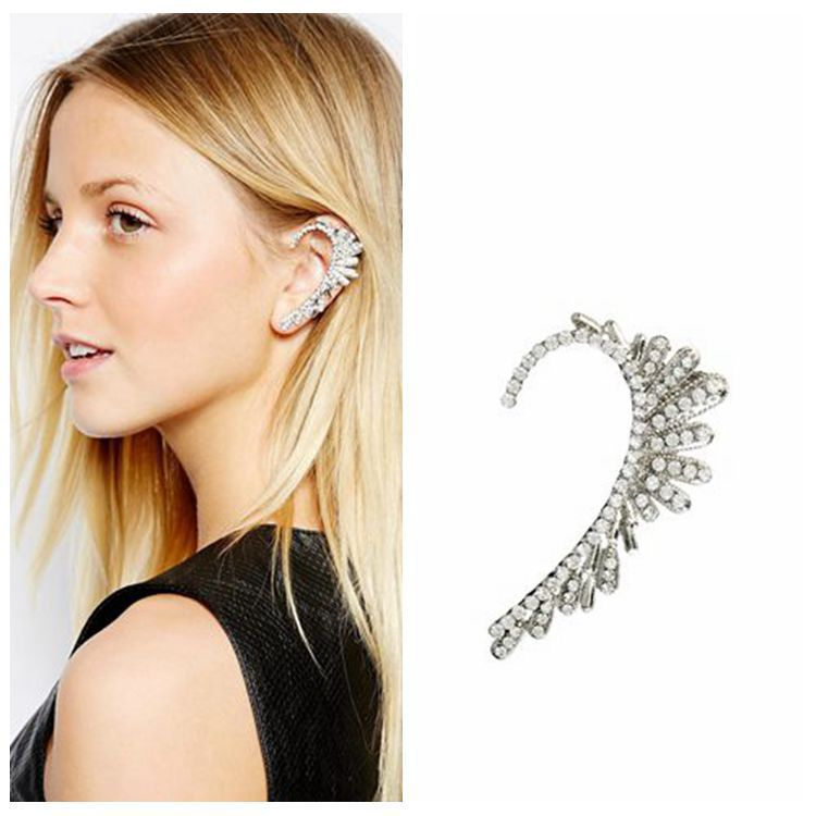 fashion full rhinestone crystal earrings cuff flower ear silver exaggerate clip women new E134 - Menglina Brand Boutique store