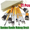 Drop Shipping Eco-friendly 11PCS Pro Bamboo Handle Makeup Brush Cosmetic Powder Tool Kit Set With Bag