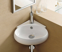 Ceramic wash basin small triangular