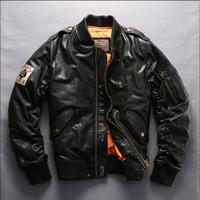 Модные мужские кожаные пуховая куртка утолщенный Теплый овчины пуховая куртка модная мужская куртка полет кожаная куртка. M 5XL