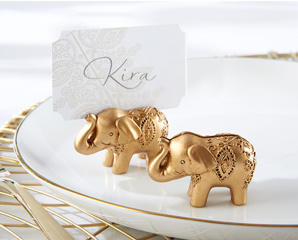 150 pcs lot wedding favor party favors Lucky Golden Elephant Place name Card Holder table Decoration