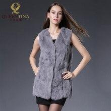 Зимний весенний жилет из кроличьего меха, модный длинный жилет из натурального меха, женская уличная одежда жилет высокого качества из натурального меха, женский жилет