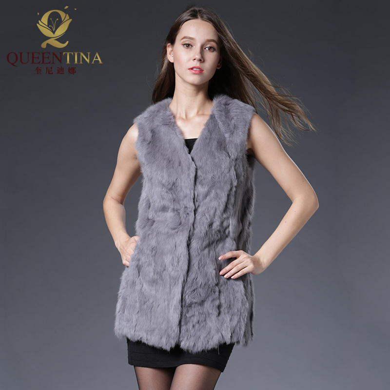 Winter Spring Rabbit Fur Vest Mode Real Fur Long Gilet Kvinnlig Natural Fur Vests Outwear Högkvalitativa Äkta Fur Vest Women
