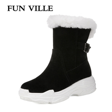 FUN VILLE New Fashion Winter Womens Snow Boots Fur Warm Ankle Flock Thick Platform Round Toe Flats shoes Women