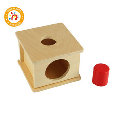 Montessori Kids Toy Wood Imbucare Box With Large Cylinder Preschool Training