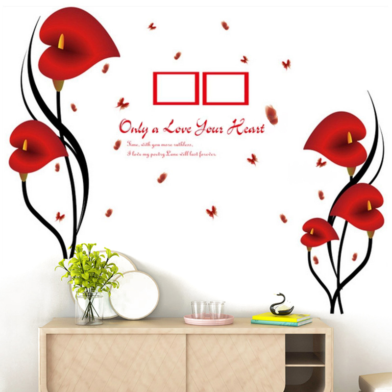 Jx Lclyl Removable Vinyl Red Love Flower Photo Frame Tree Wall Decal Sticker Home Decor Wall Stickers Aliexpress