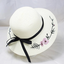 BINGYUANHAOXUAN 2019 Fashion New Embroidered Straw Hat Letters Flower Bow Beach Visor Summer Sun Women Travel