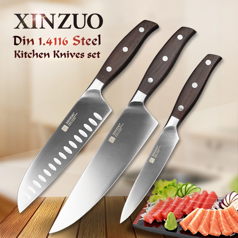 XINZUO Kitchen Tools 3 PCS Kitchen Knife Set Utility Chef Satoku Knife German 1.4116 Stainless Steel Razor Sharp Cooking Tools