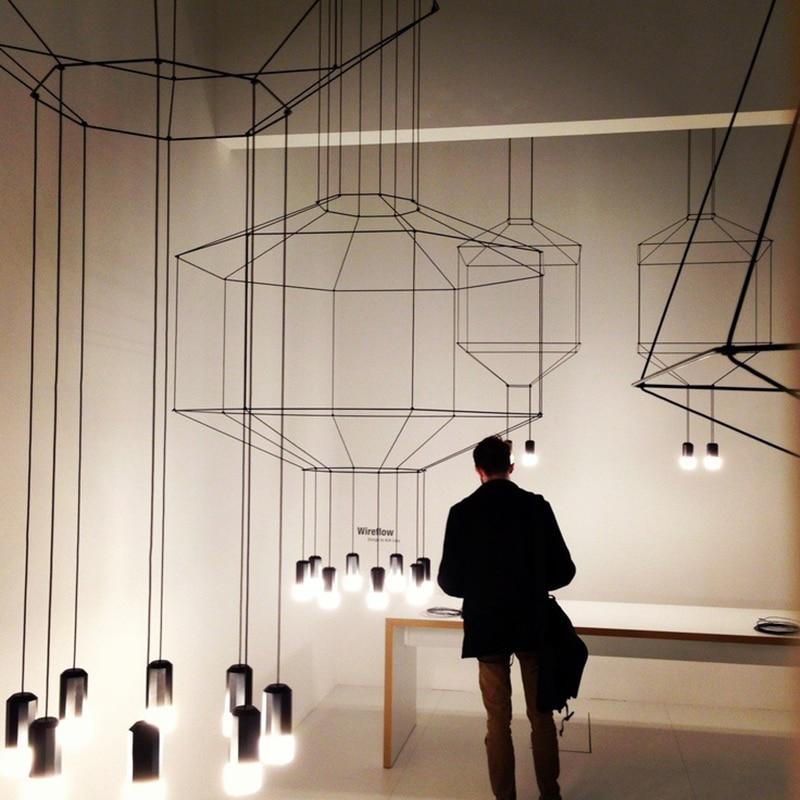 Wire chandelier Lighting Restaurant Bar Kitchen Dining room long Art Decor DIY Lamp Shades geometric