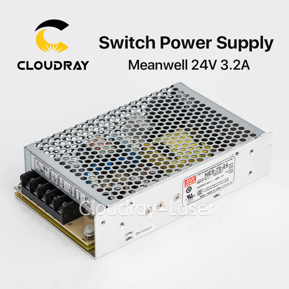 Cloudray Taiwan Meanwell NES-75-24 24V 3.2A 75W Switching Power Supply for Laser Controller laser cutting marking engraving machine diy parts meanwell mw nes 350 24 350w 24v power supply switching switch power supply
