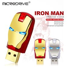 iron man metalen usb pen led ogen verlichting usb flash drives pen 64 gb 32 gb