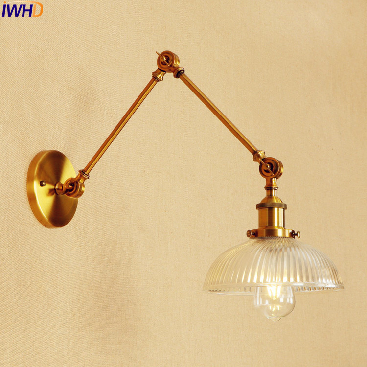 IWHD Antique Glass Vintage Wall Lamp LED Edison Bedroom Gold Adjustable Long Arm Wall Light Wandlampen Loft Lamparas De Pared