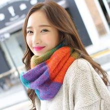 Wholesale Rainbow Plaid For Women Ring Scarf Female Winter Neck Scarves LIC Knitted Xaile Ladies Warm Collar Wool Scarf