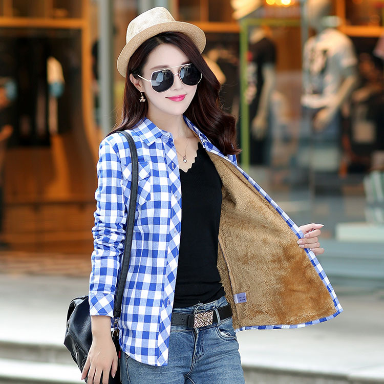 Brand Casual Jacket Women 2018 New Winter Warm Plaid Shirt Style Jacket Female Plus Size Thick Velvet Long Sleeve Warm Coat