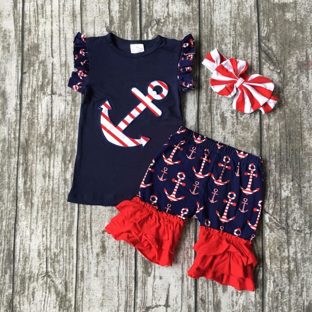 July 4th Summer outfit girls clothes navy res kids anchor clothes print shorts sleeveless matching accessories bow headband set baby girls summer clothing girls july 4th anchored in god s word shorts clothes kids anchor clothing with accessories