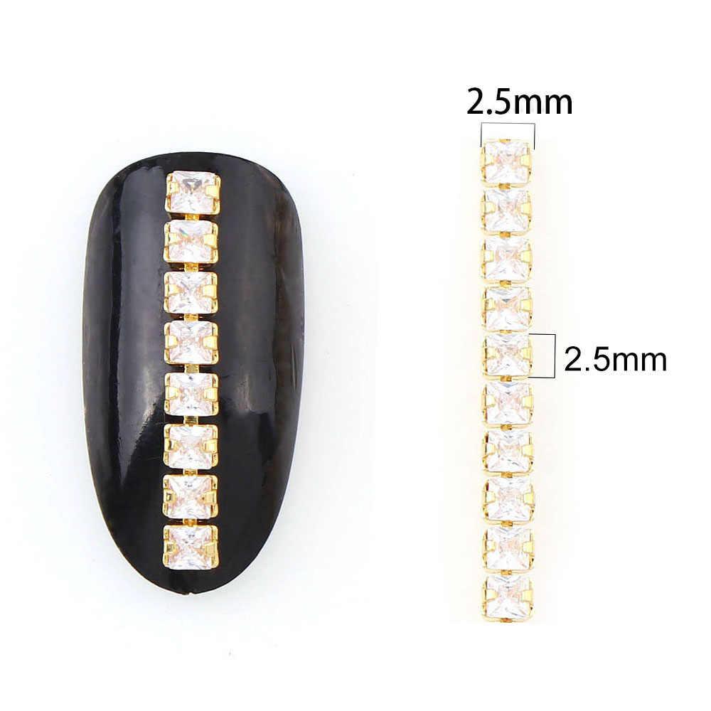 9-10 ซม.เงาเล็บ Zircon โซ่เล็บฐานทองไข่มุกเล็บเครื่องประดับตกแต่งเล็บ DIY เครื่องประดับ