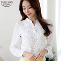 2015 New High quality Lace Blouse Beading Crochet White Long Sleeve Chiffon Shirt Feminine Income Plus Women's Clothing 60B6