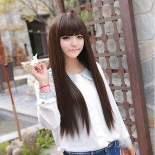 Qi Bangs Korean Girls Wig Star Models Cute Female New Beautiful Long Straight