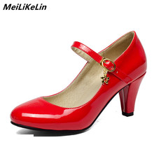 MeiLiKeLin Women Mary Janes Pumps Spike Heel 8 cm Patent Leather offcie Lady Pumps Black Red High heels shoes plus size 34-41 недорого