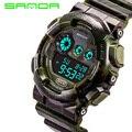 2016 nueva marca sanda verde militar relojes deportivos de caucho led digital resistente al agua reloj de pulsera de reloj para hombres hombres boy