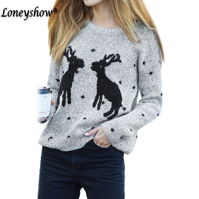 Christmas Sweater Women Grey Cute Xmas Deer Sweat snowflakes Women Fashion  Embroidery Sweaters And Pullovers daa619448