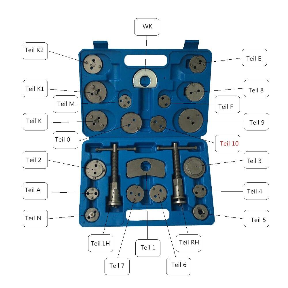 22 pièces universel disque frein étrier Piston Pad voiture Auto vent arrière main trousse à outils