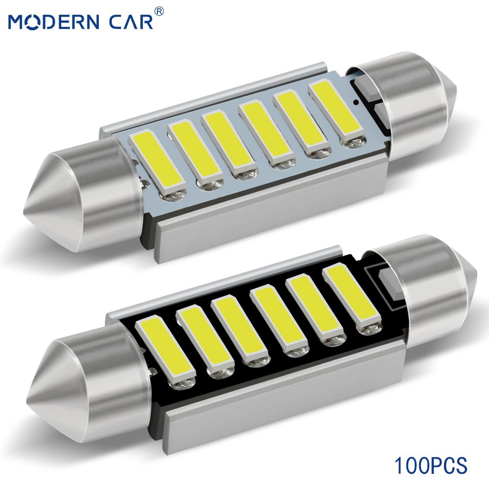 MODERN CAR <font><b>100pcs</b></font> C5W C10W Led Lamps For Auto 31mm 36mm 39mm 41mm <font><b>Canbus</b></font> Error Free High Quality White License Plate Light 5500K image